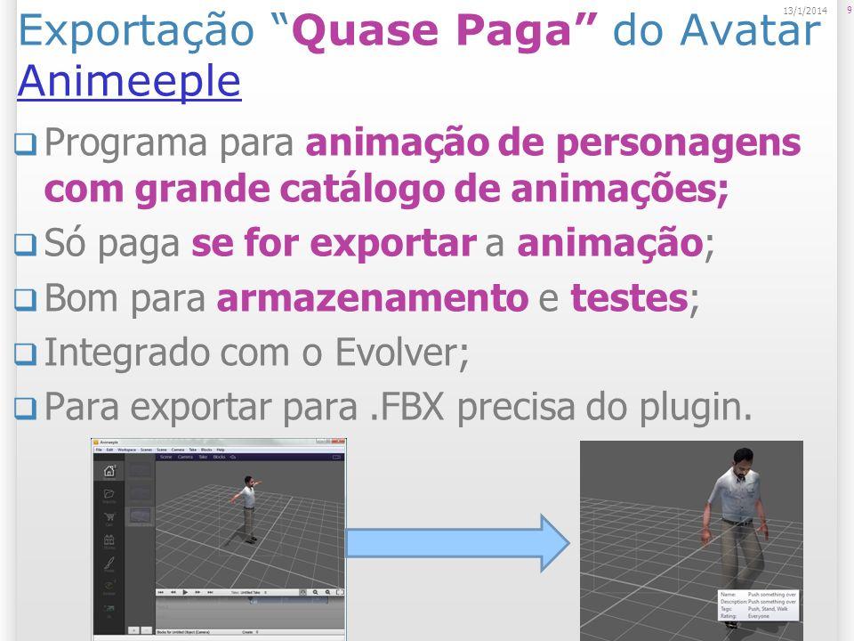 Exportação Quase Paga do Avatar Animeeple Animeeple Programa para animação de personagens com grande catálogo de animações; Só paga se for exportar a