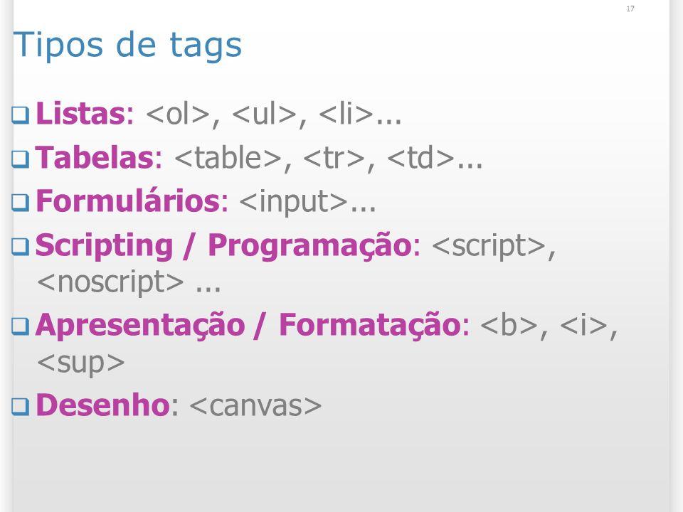 17 Tipos de tags Listas:,,... Tabelas:,,... Formulários:... Scripting / Programação:,... Apresentação / Formatação:,, Desenho: