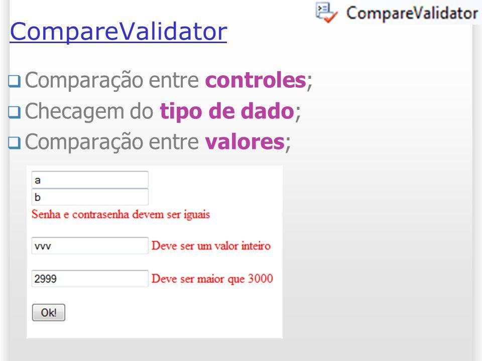 CompareValidator Comparação entre controles; Checagem do tipo de dado; Comparação entre valores; 15