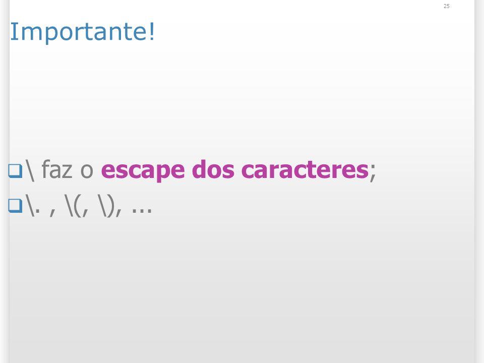 Importante! \ faz o escape dos caracteres; \., \(, \),... 25