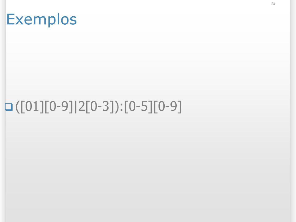 Exemplos ([01][0-9]|2[0-3]):[0-5][0-9] 28