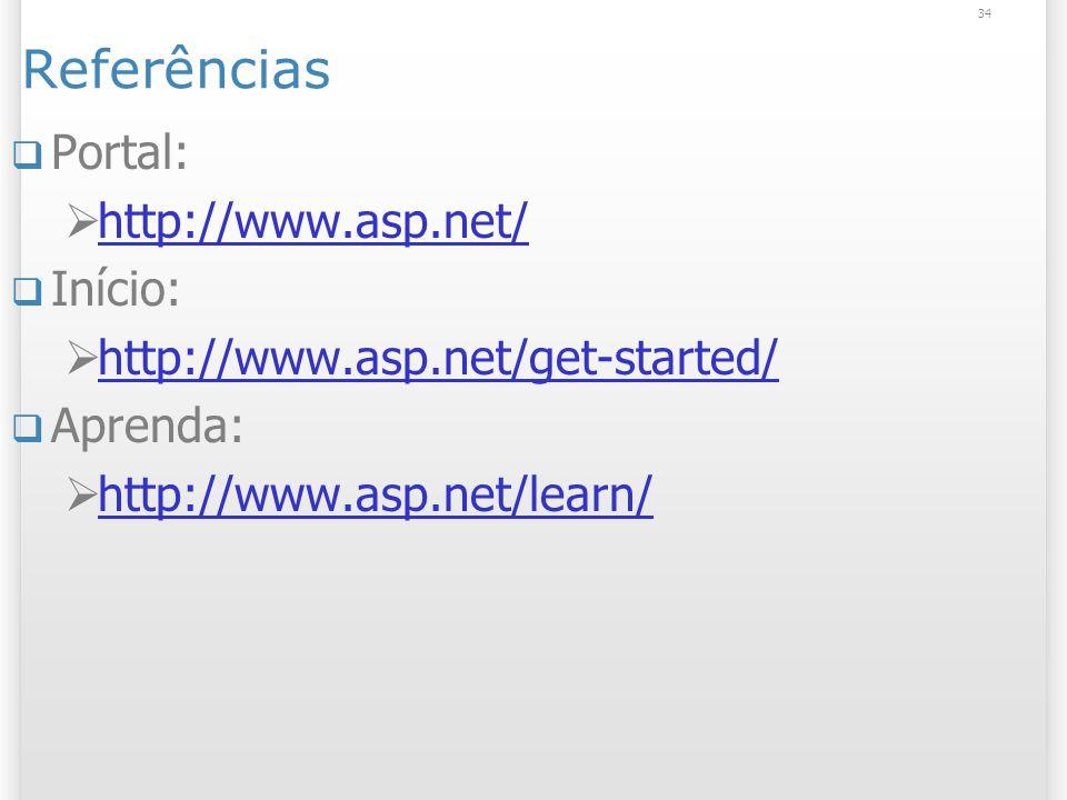 Referências Portal: http://www.asp.net/ Início: http://www.asp.net/get-started/ Aprenda: http://www.asp.net/learn/ 34