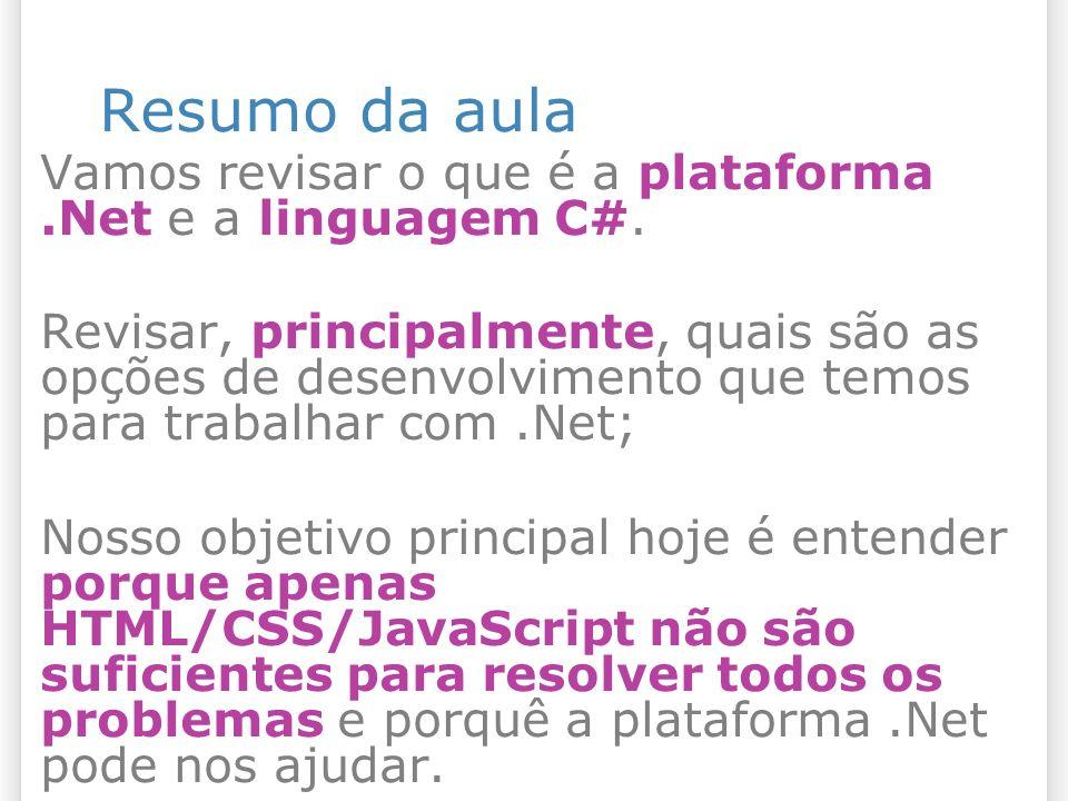 Resumo da aula Vamos revisar o que é a plataforma.Net e a linguagem C#.