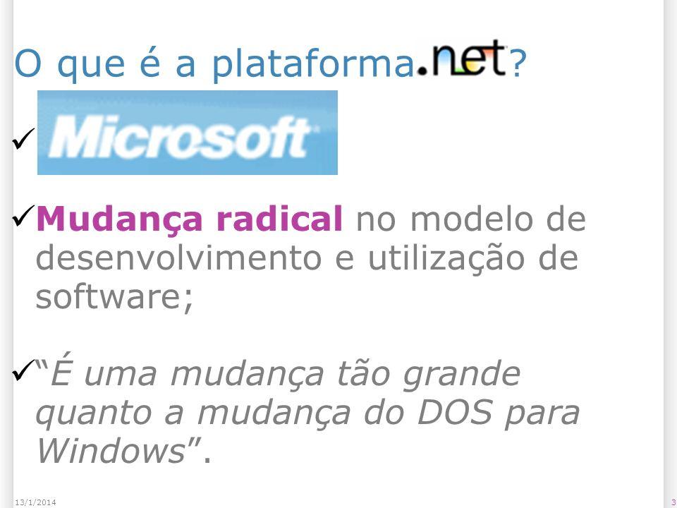 Principais plataformas de desenvolvimento 1413/1/2014 Common Language Runtime Biblioteca de Classes Básicas ADO.NET – Dados e XML ASP.NET MVC Web Services Web Forms WPF e Silverlight Windows Forms