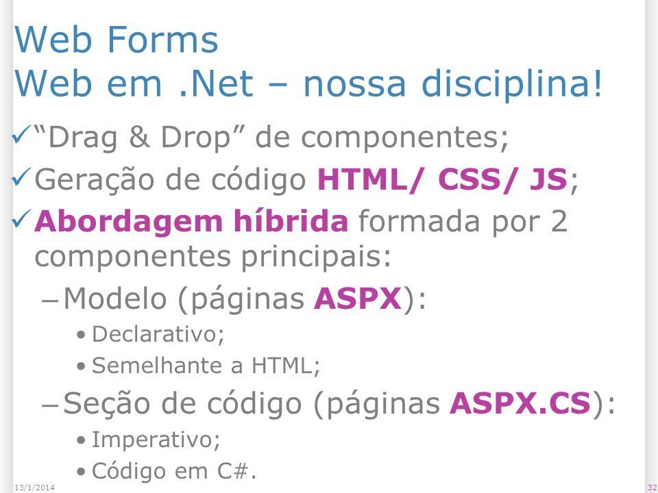 Web Forms Web em.Net – nossa disciplina.