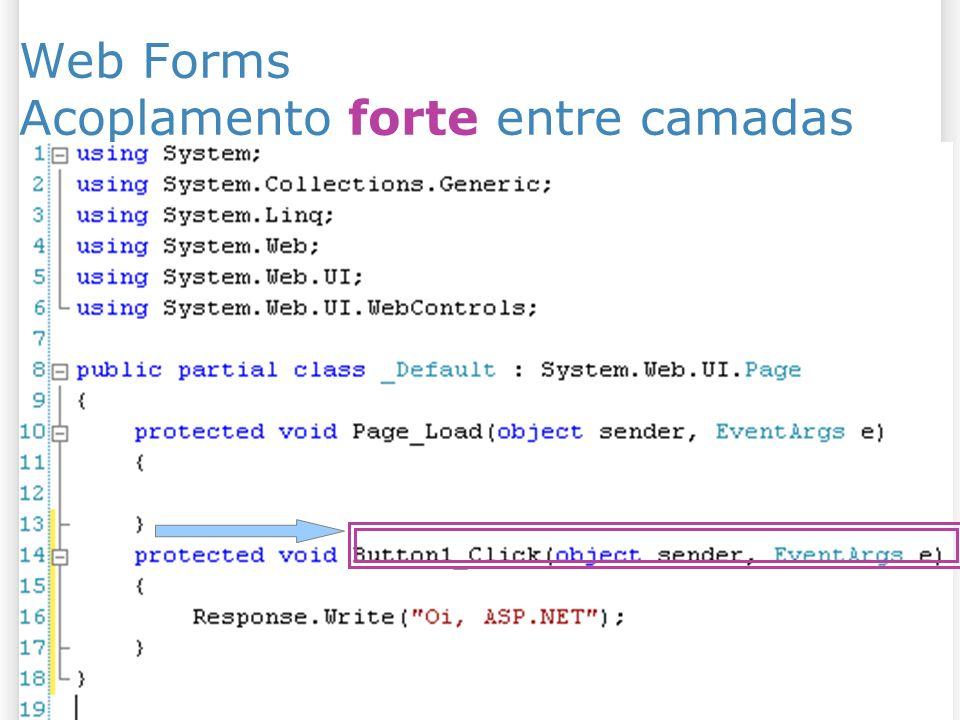Web Forms Acoplamento forte entre camadas
