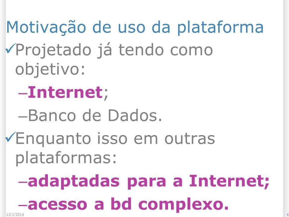 Motivação de uso da plataforma Projetado já tendo como objetivo: – Internet; – Banco de Dados.