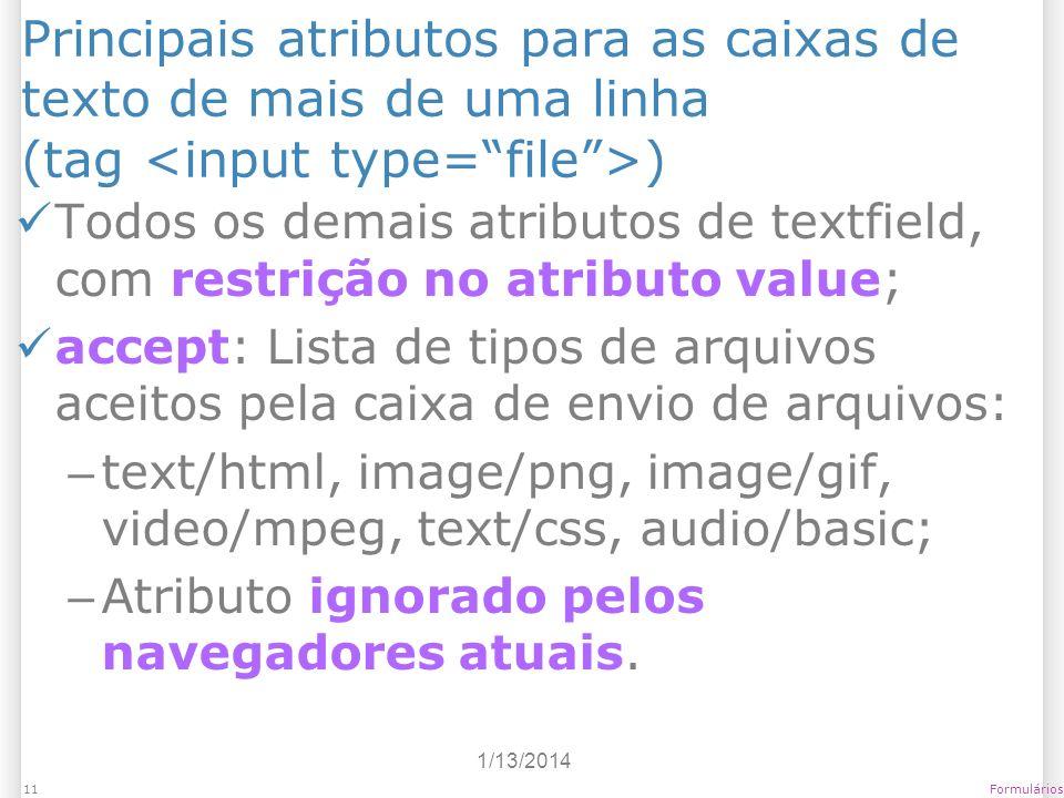1/13/2014 Formulários11 Principais atributos para as caixas de texto de mais de uma linha (tag ) Todos os demais atributos de textfield, com restrição