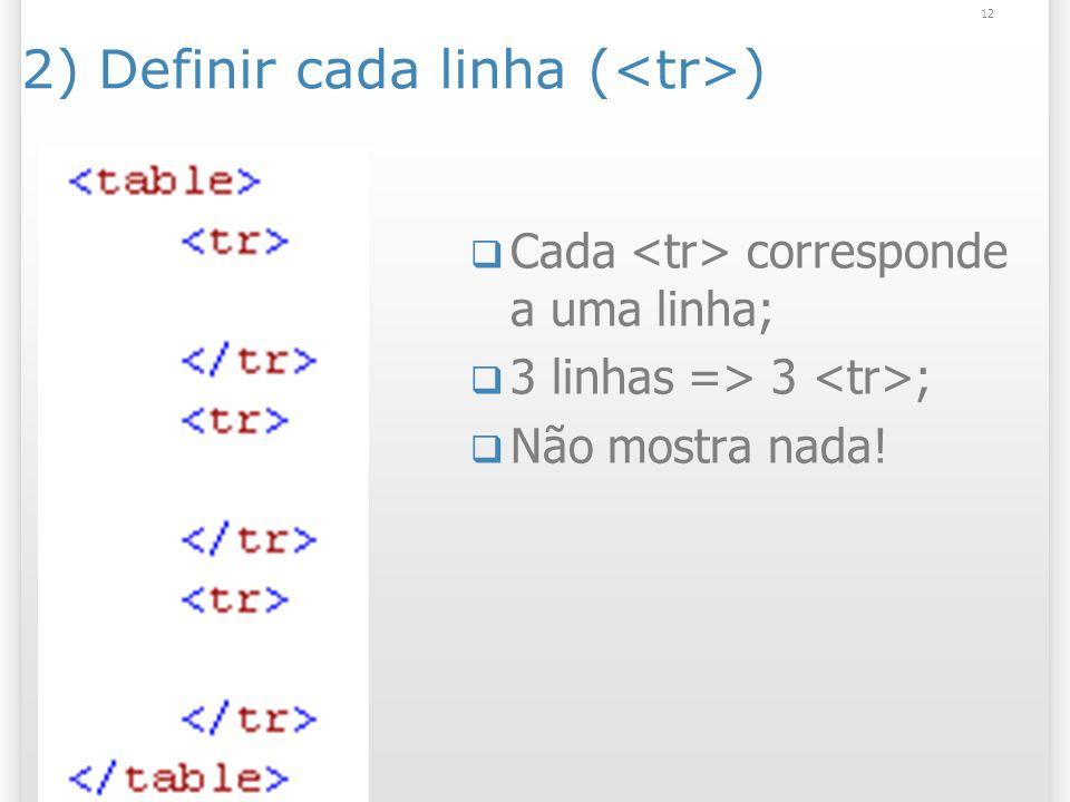 12 2) Definir cada linha ( ) Cada corresponde a uma linha; 3 linhas => 3 ; Não mostra nada!