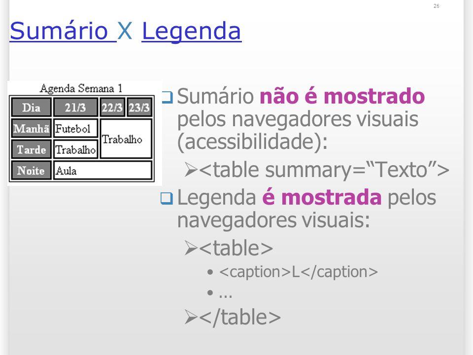 26 Sumário Sumário X LegendaLegenda Sumário não é mostrado pelos navegadores visuais (acessibilidade): Legenda é mostrada pelos navegadores visuais: L