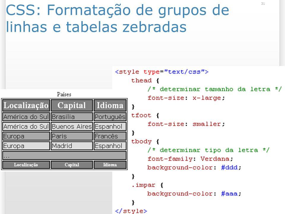31 CSS: Formatação de grupos de linhas e tabelas zebradas