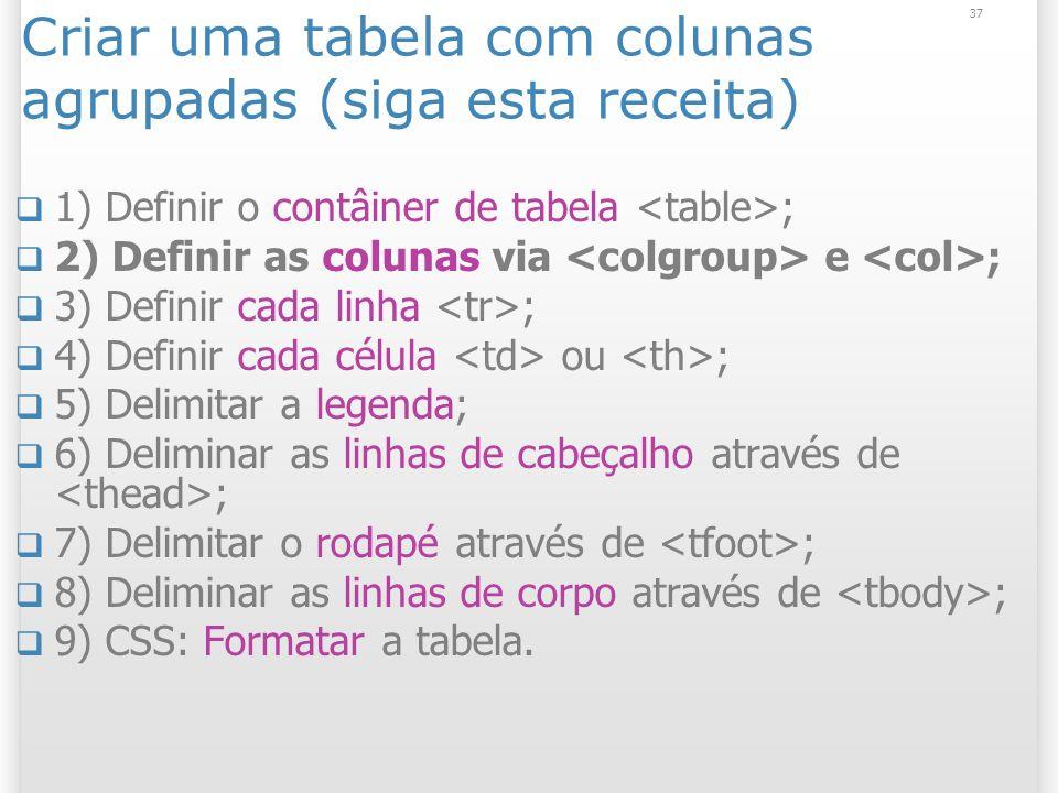 37 Criar uma tabela com colunas agrupadas (siga esta receita) 1) Definir o contâiner de tabela ; 2) Definir as colunas via e ; 3) Definir cada linha ;
