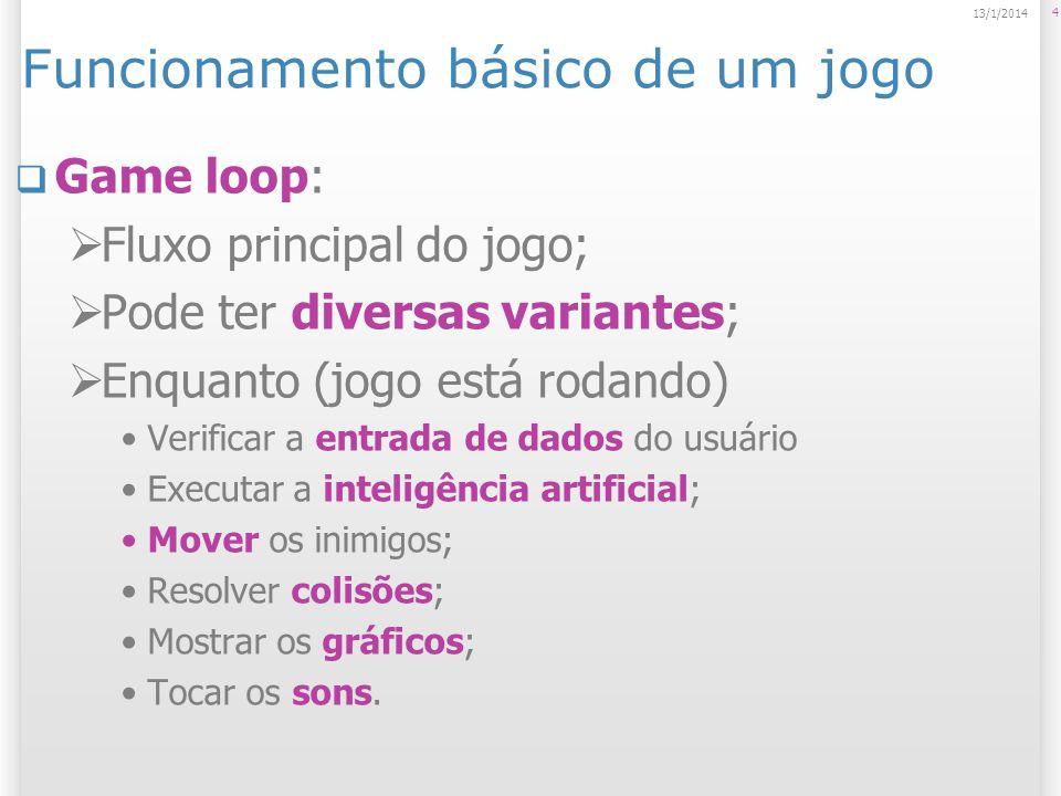 Funcionamento básico de um jogo Game loop: Fluxo principal do jogo; Pode ter diversas variantes; Enquanto (jogo está rodando) Verificar a entrada de dados do usuário Executar a inteligência artificial; Mover os inimigos; Resolver colisões; Mostrar os gráficos; Tocar os sons.