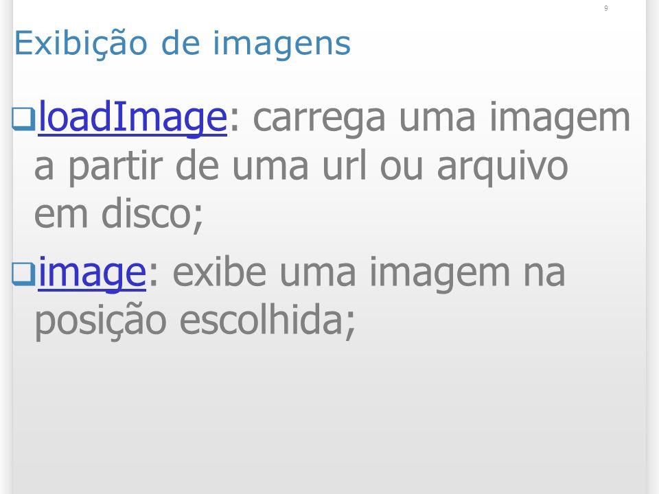 9 Exibição de imagens loadImage: carrega uma imagem a partir de uma url ou arquivo em disco; loadImage image: exibe uma imagem na posição escolhida; image