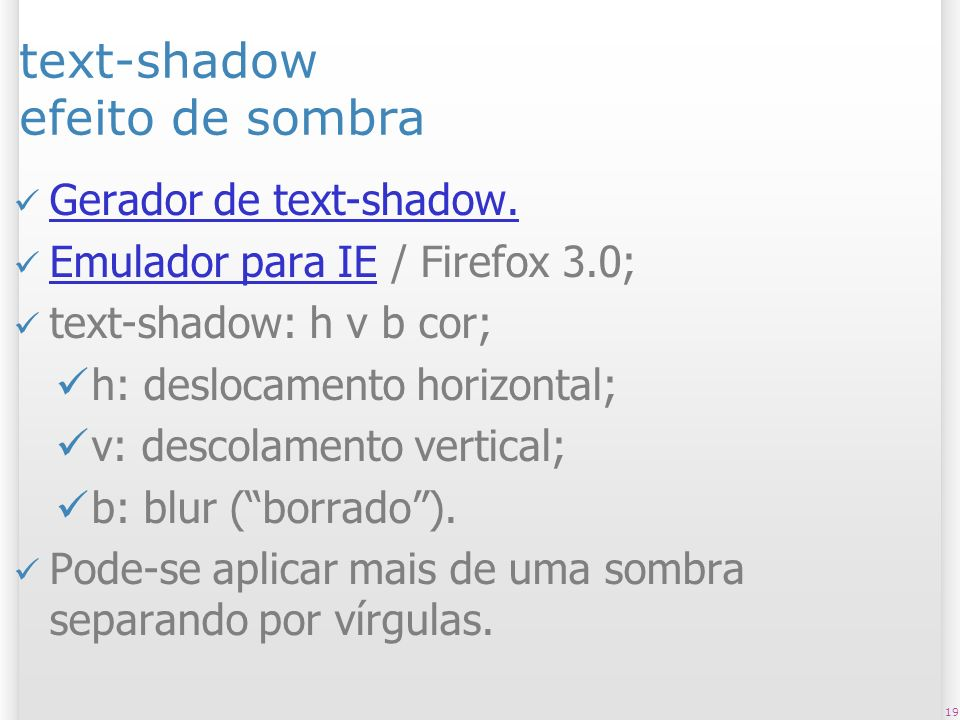 text-shadow efeito de sombra Gerador de text-shadow.
