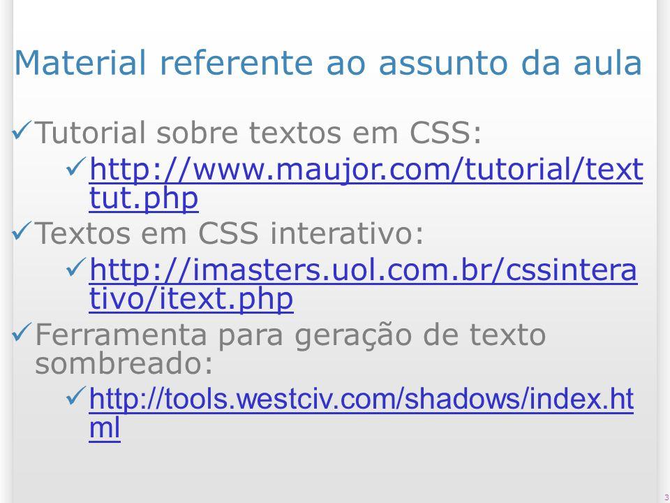 4 Material referente ao assunto da aula Recomendação W3C do CSS 2.1 (em Inglês): – http://www.w3.org/TR/CSS21/select or.html#pattern-matching http://www.w3.org/TR/CSS21/select or.html#pattern-matching Capítulo do Livro CSS – Guia de Bolso: – http://altabooks.tempsite.ws/capitul os_amostra/00_cssbolso.pdf http://altabooks.tempsite.ws/capitul os_amostra/00_cssbolso.pdf