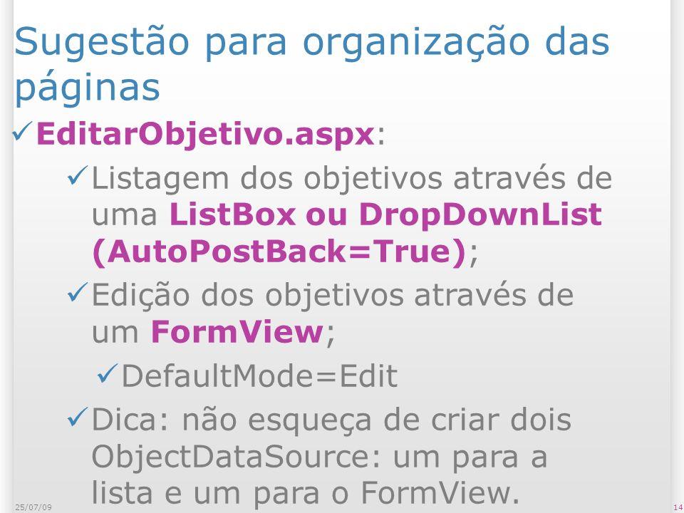 Sugestão para organização das páginas EditarObjetivo.aspx: Listagem dos objetivos através de uma ListBox ou DropDownList (AutoPostBack=True); Edição dos objetivos através de um FormView; DefaultMode=Edit Dica: não esqueça de criar dois ObjectDataSource: um para a lista e um para o FormView.