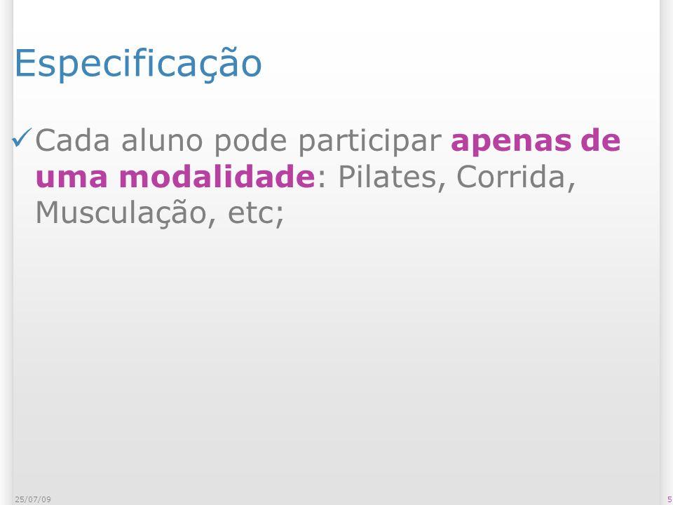 Especificação Cada aluno pode participar apenas de uma modalidade: Pilates, Corrida, Musculação, etc; 525/07/09