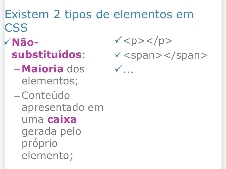 Existem 2 tipos de elementos em CSS Não- substituídos: – Maioria dos elementos; – Conteúdo apresentado em uma caixa gerada pelo próprio elemento;...