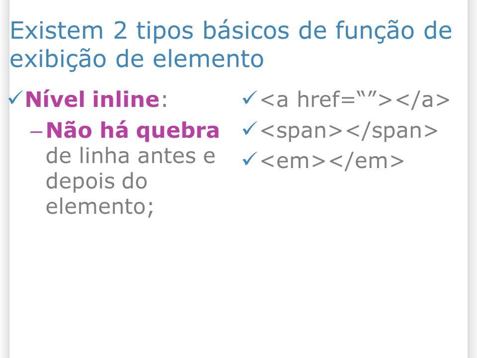 Existem 2 tipos básicos de função de exibição de elemento Nível inline: – Não há quebra de linha antes e depois do elemento;