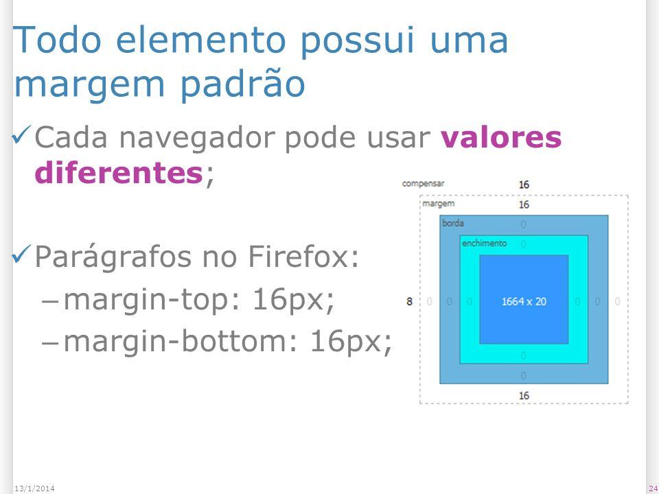 Todo elemento possui uma margem padrão Cada navegador pode usar valores diferentes; Parágrafos no Firefox: – margin-top: 16px; – margin-bottom: 16px; 2413/1/2014
