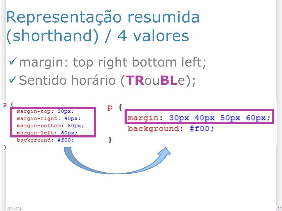 Representação resumida (shorthand) / 4 valores margin: top right bottom left; Sentido horário (TRouBLe); 2913/1/2014