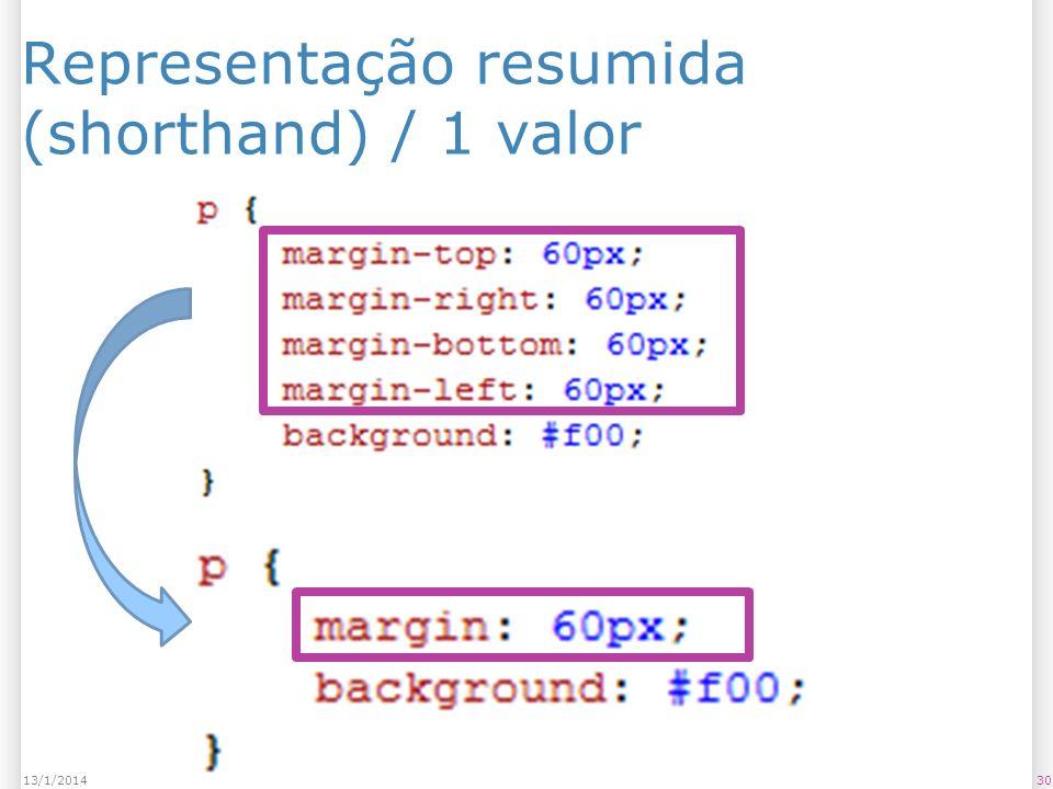 Representação resumida (shorthand) / 1 valor 3013/1/2014