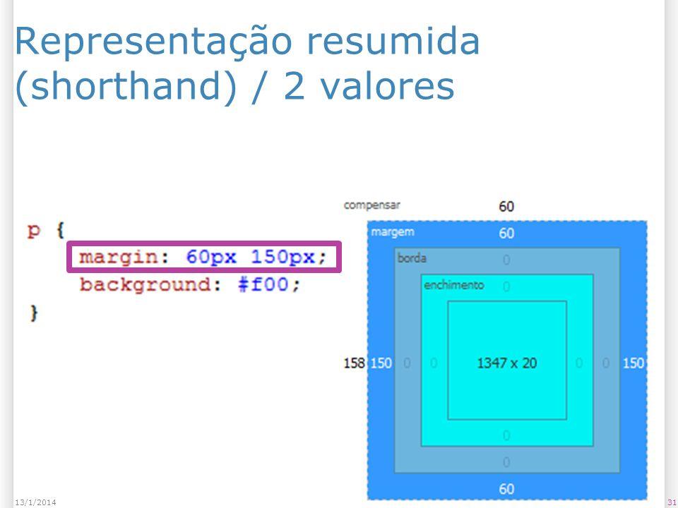 Representação resumida (shorthand) / 2 valores 3113/1/2014
