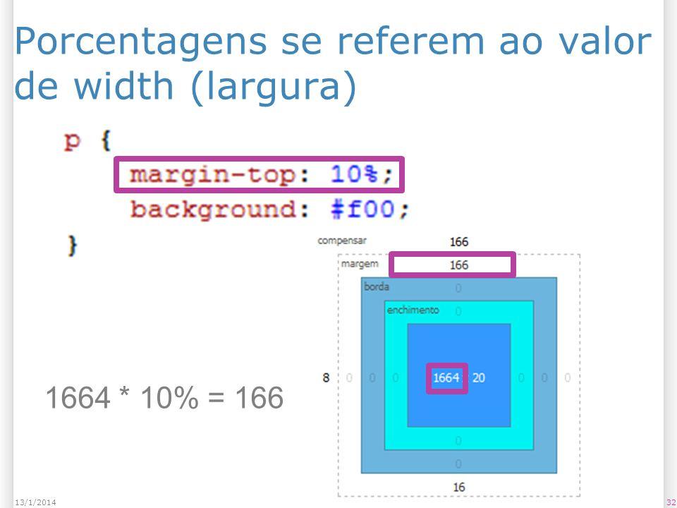 Porcentagens se referem ao valor de width (largura) 3213/1/2014 1664 * 10% = 166