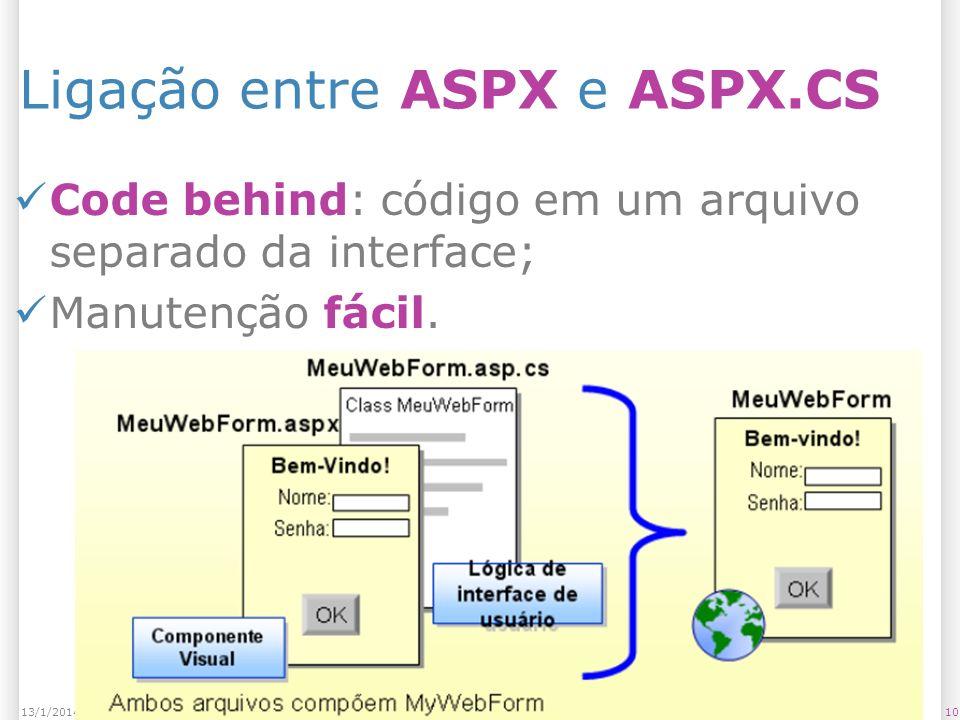 Ligação entre ASPX e ASPX.CS Code behind: código em um arquivo separado da interface; Manutenção fácil.