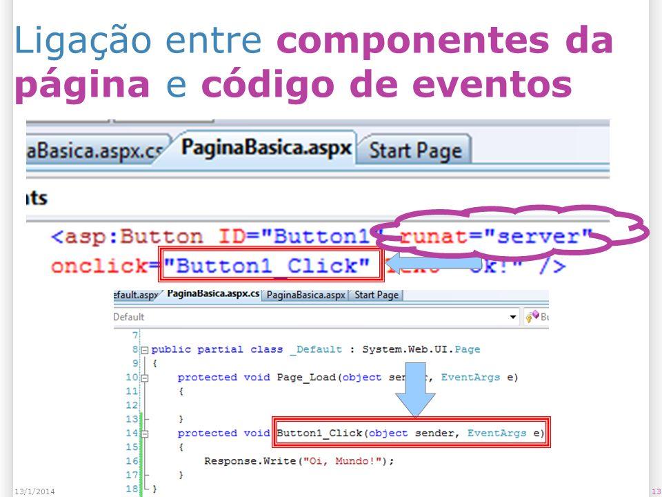 Ligação entre componentes da página e código de eventos 1313/1/2014