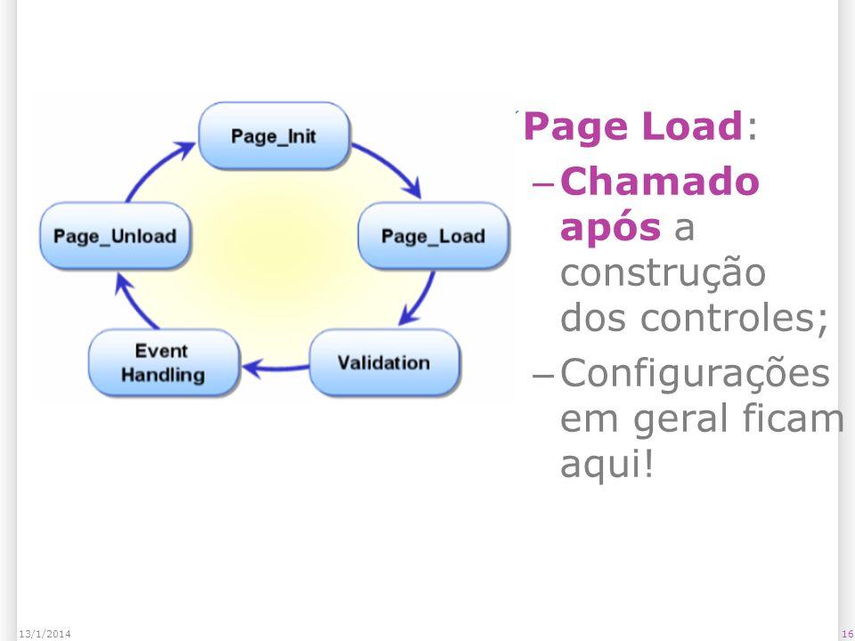 Page Load: – Chamado após a construção dos controles; – Configurações em geral ficam aqui.