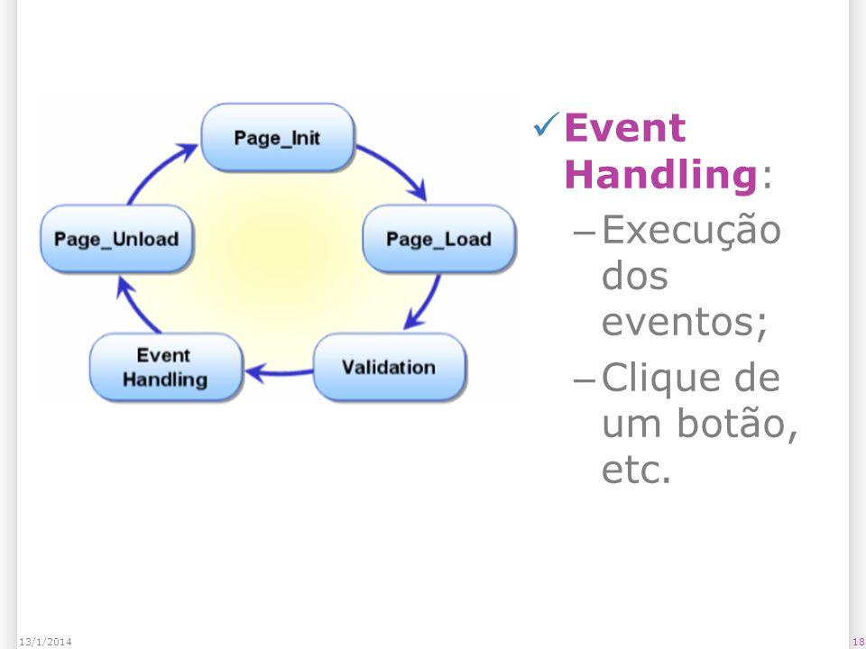 Event Handling: – Execução dos eventos; – Clique de um botão, etc. 1813/1/2014