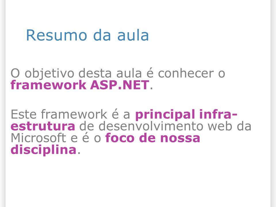 Resumo da aula O objetivo desta aula é conhecer o framework ASP.NET.