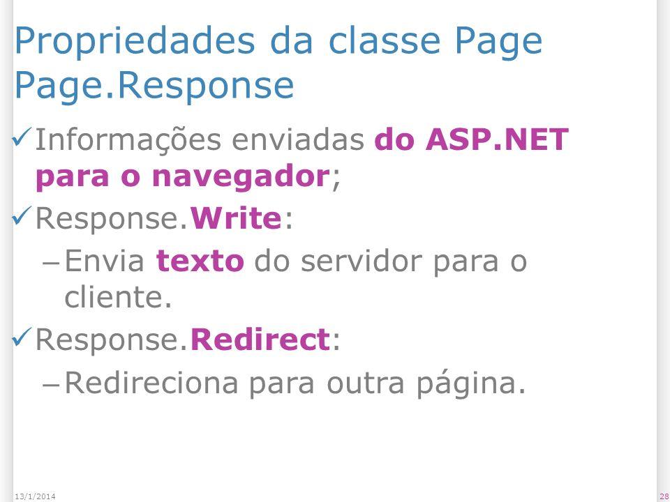 Propriedades da classe Page Page.Response Informações enviadas do ASP.NET para o navegador; Response.Write: – Envia texto do servidor para o cliente.