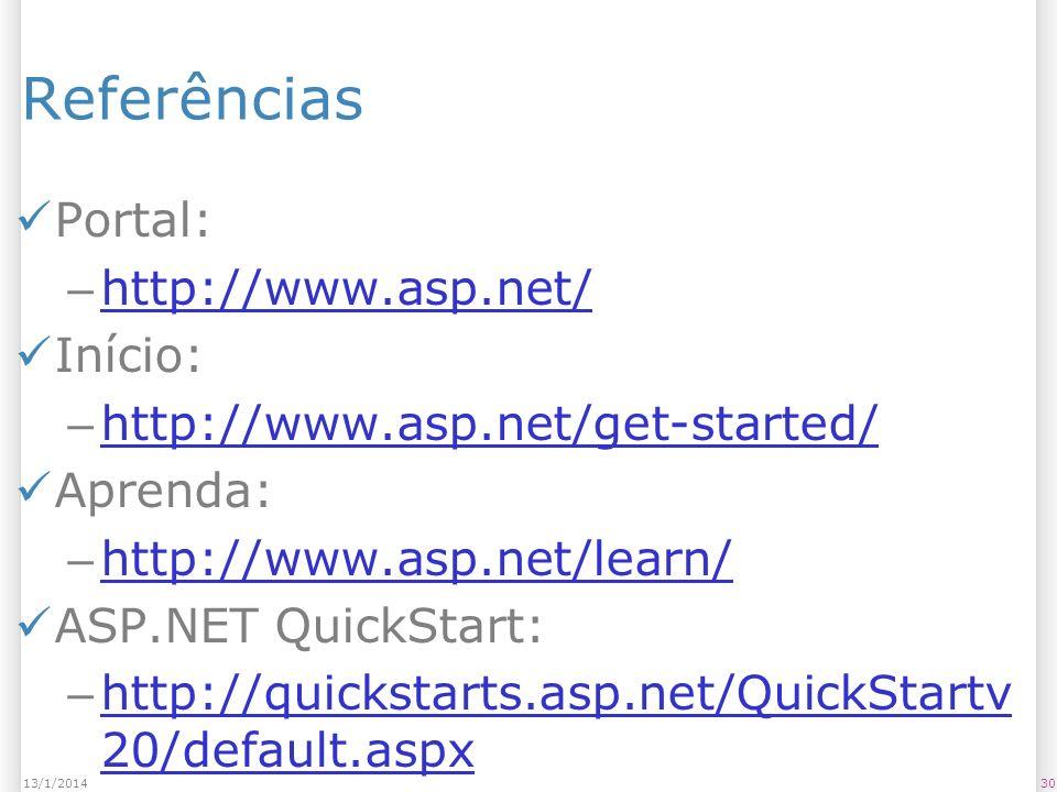 Referências Portal: – http://www.asp.net/ http://www.asp.net/ Início: – http://www.asp.net/get-started/ http://www.asp.net/get-started/ Aprenda: – http://www.asp.net/learn/ http://www.asp.net/learn/ ASP.NET QuickStart: – http://quickstarts.asp.net/QuickStartv 20/default.aspx http://quickstarts.asp.net/QuickStartv 20/default.aspx 3013/1/2014