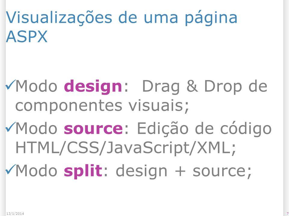 Visualizações de uma página ASPX Modo design: Drag & Drop de componentes visuais; Modo source: Edição de código HTML/CSS/JavaScript/XML; Modo split: design + source; 713/1/2014