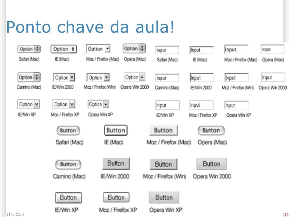 1213/1/2014 Ponto chave da aula!