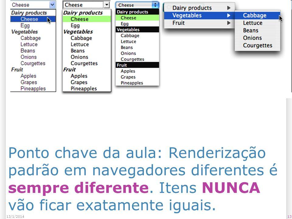 1313/1/2014 Ponto chave da aula: Renderização padrão em navegadores diferentes é sempre diferente.