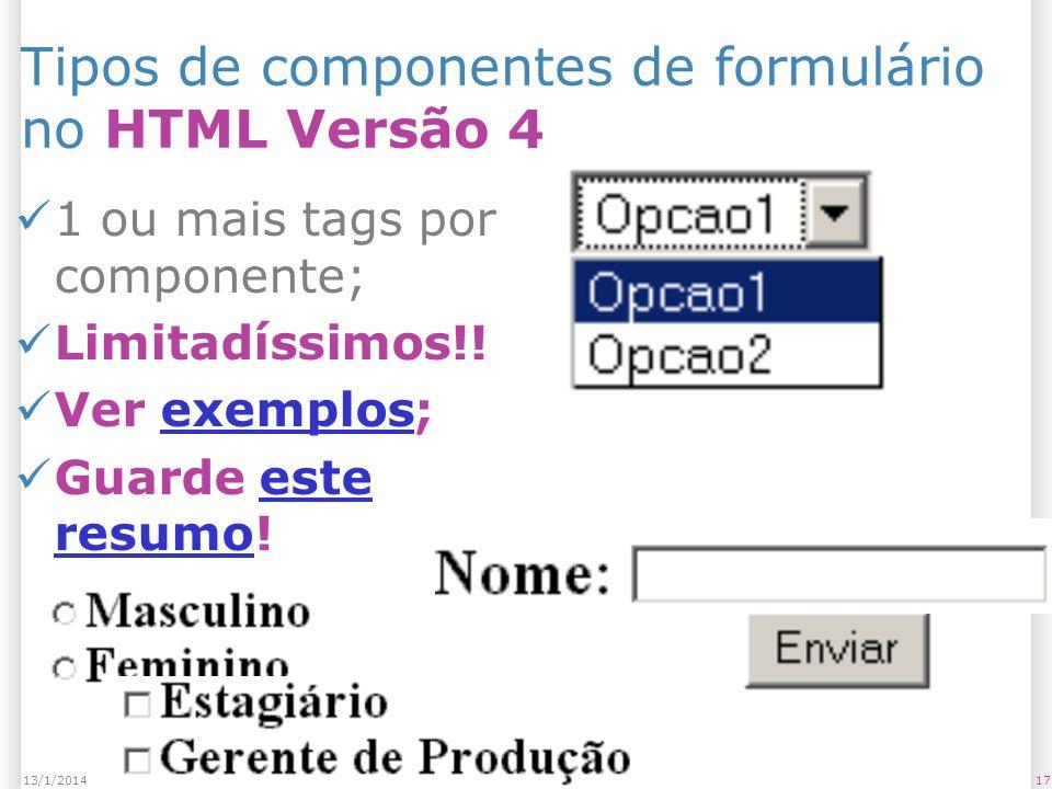 1713/1/2014 Tipos de componentes de formulário no HTML Versão 4 1 ou mais tags por componente; Limitadíssimos!.