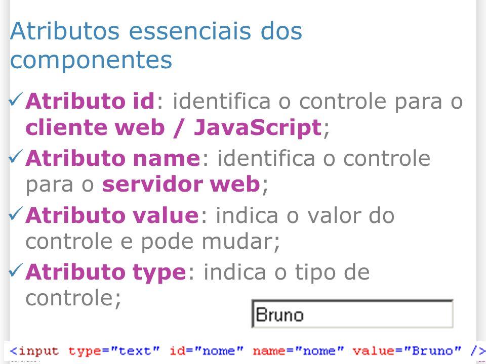 2213/1/2014 Atributos essenciais dos componentes Atributo id: identifica o controle para o cliente web / JavaScript; Atributo name: identifica o controle para o servidor web; Atributo value: indica o valor do controle e pode mudar; Atributo type: indica o tipo de controle;