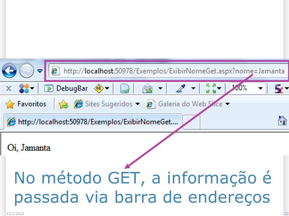 No método GET, a informação é passada via barra de endereços 3213/1/2014