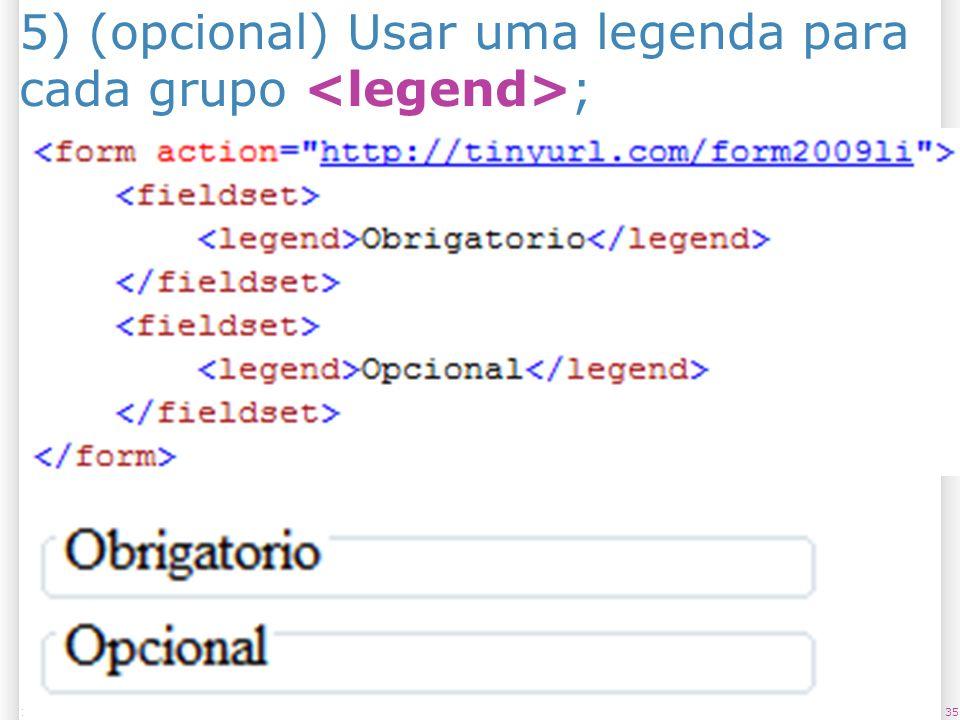 3513/1/2014 5) (opcional) Usar uma legenda para cada grupo ;
