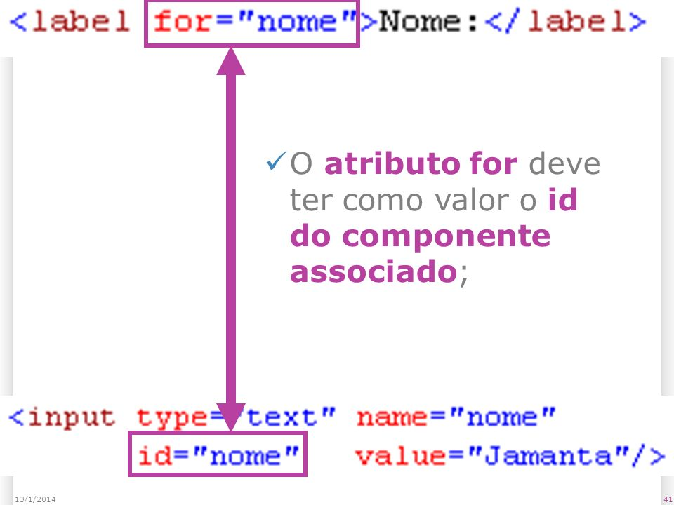 4113/1/2014 O atributo for deve ter como valor o id do componente associado;
