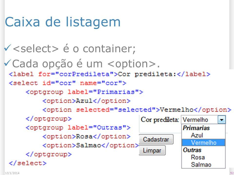 Caixa de listagem é o container; Cada opção é um. 5213/1/2014