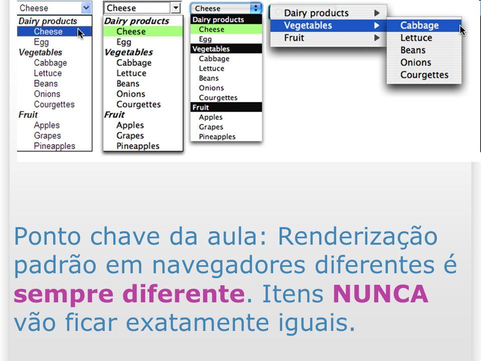 12 Ponto chave da aula: Renderização padrão em navegadores diferentes é sempre diferente. Itens NUNCA vão ficar exatamente iguais.