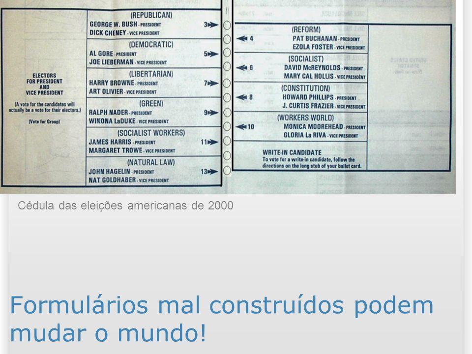 2 Formulários mal construídos podem mudar o mundo! Cédula das eleições americanas de 2000