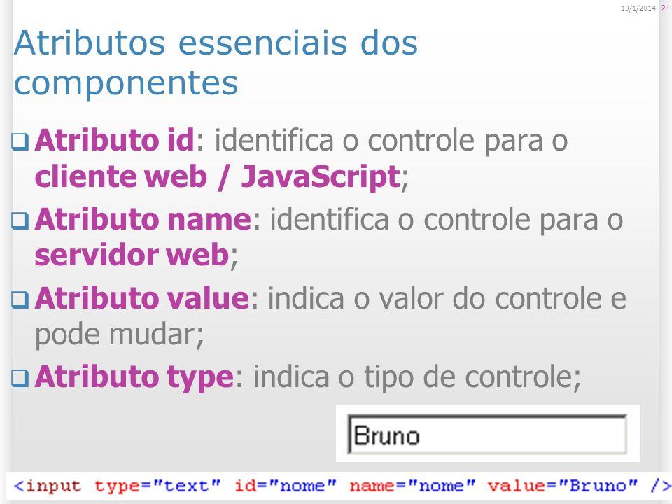 21 13/1/2014 Atributos essenciais dos componentes Atributo id: identifica o controle para o cliente web / JavaScript; Atributo name: identifica o cont