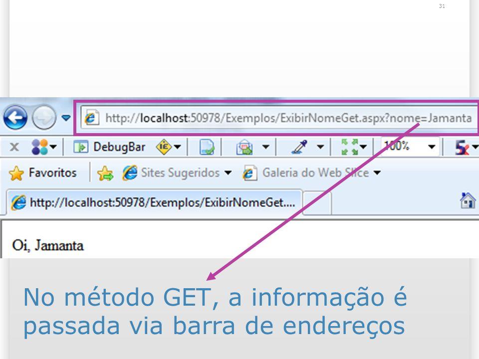 No método GET, a informação é passada via barra de endereços 31
