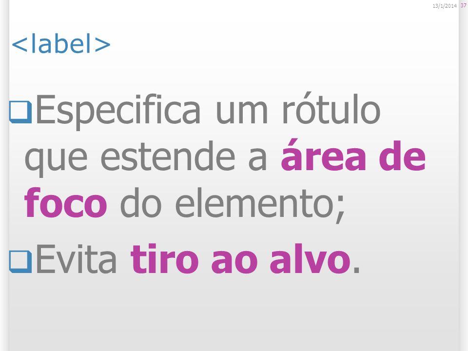 Especifica um rótulo que estende a área de foco do elemento; Evita tiro ao alvo. 37 13/1/2014
